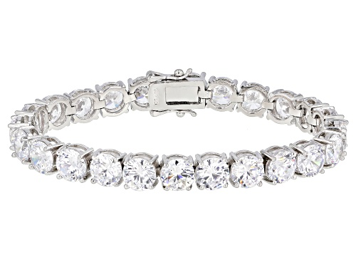 Photo of Pre-Owned Bella Luce ® 33.80ctw White Diamond Simulant Rhodium Over Sterling Silver Tennis Bracelet - Size 7.5