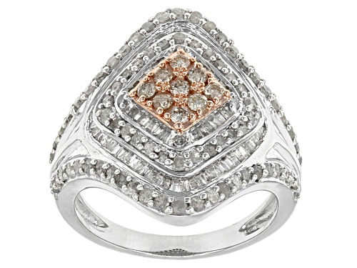 Photo of Pre-Owned 1.38ctw Round Champagne And White Diamond Rhodium Over Sterling Silver Cluster Ring - Size 6