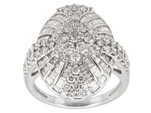 Photo of Pre-Owned 1.85ctw Round & Baguette Diamond 14k White Gold Ring - Size 7