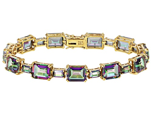 Photo of Pre-Owned 34.32CTW EMERALD CUT MULTI-COLOR QUARTZ 18K YELLOW GOLD OVER STERLING SILVER BRACELET - Size 8
