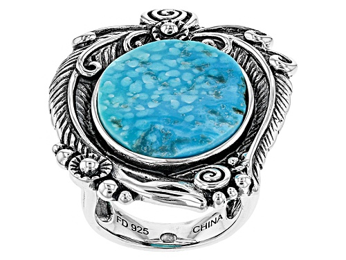 Photo of Pre-Owned Southwest Style By Jtv™ Oval Sleeping Beauty Turquoise Sterling Silver Solitaire Ring - Size 7