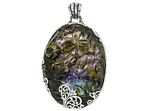 Photo of Pre-Owned Artisan Collection Of Bali™ 62x46mm Oval Carved Labradorite Doublet Silver Horse Pendant