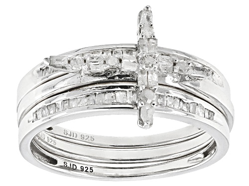 Photo of Pre-Owned .50ctw Round And Baguette White Diamond Rhodium Over Sterling Silver Ring With 2 Matching - Size 6