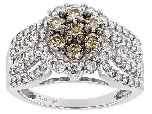 Photo of Pre-Owned 1.60ctw Round & Baguette Champagne & White Diamond 10K White Gold Cluster Ring - Size 7