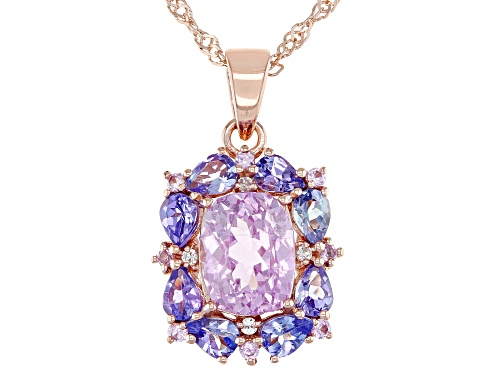 Photo of Pre-Owned 3.48ctw Kunzite, Tanzanite, Pink Sapphire & White Zircon 18k Rose Gold Over Silver Pendant