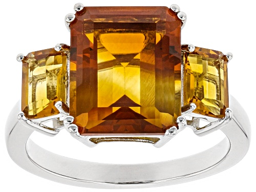 Photo of Pre-Owned 4.68ctw Emerald Cut Madeira Citrine Rhodium Over Sterling Silver 3-Stone Ring - Size 9