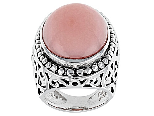 Photo of Pre-Owned Oval Peruvian Pink Opal Cabochon Sterling Silver Solitaire Ring - Size 6