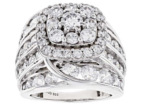 Photo of Pre-Owned Bella Luce ® 10.59ctw Rhodium Over Sterling Silver Ring (5.40ctw DEW) - Size 11