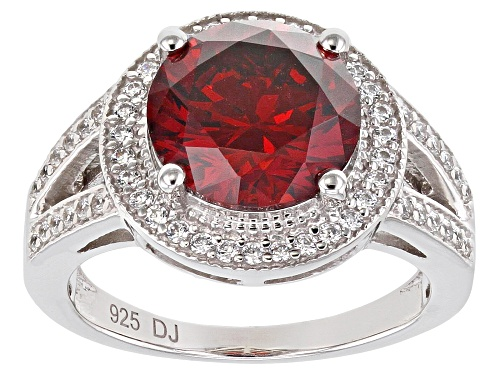 Pre-Owned Bella Luce ® 7.10ctw Garnet And White Diamond Simulants Rhodium Over Silver Ring (4.14ctw - Size 6