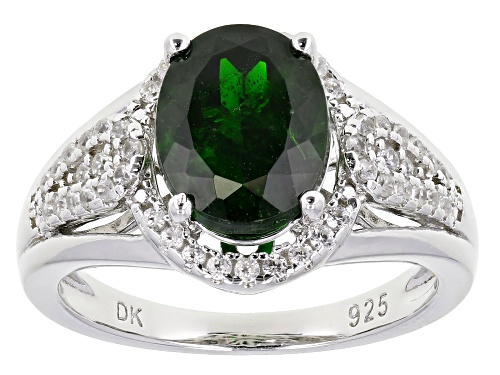 Photo of Pre-Owned 2.04ct Oval Chrome Diopside With .22ctw Round White Zircon Rhodium Over Sterling Silver Ri - Size 7