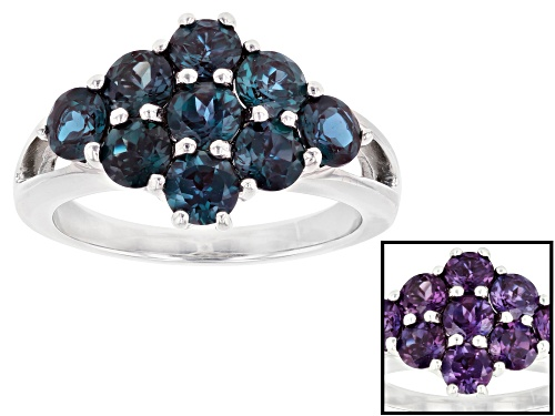 Photo of Pre-Owned 2.60ctw Round Lab Created Alexandrite Rhodium Over Sterling Silver 9-Stone Cluster Ring - Size 8