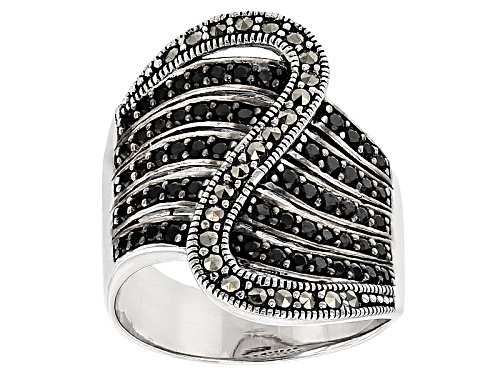 Photo of Pre-Owned .63ctw Round Black Spinel And 1.5mm Round Marcasite Sterling Silver Crossover Ring - Size 6