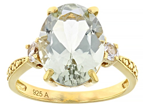 Photo of Pre-Owned 6.00ct Oval Prasiolite With .50ctw Round White Topaz 18K Gold Over Sterling Silver Ring - Size 9