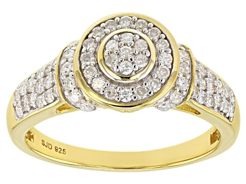 Photo of Pre-Owned MOISSANITE FIRE® .67CTW DEW ROUND 14K YELLOW GOLD OVER SILVER RING - Size 7