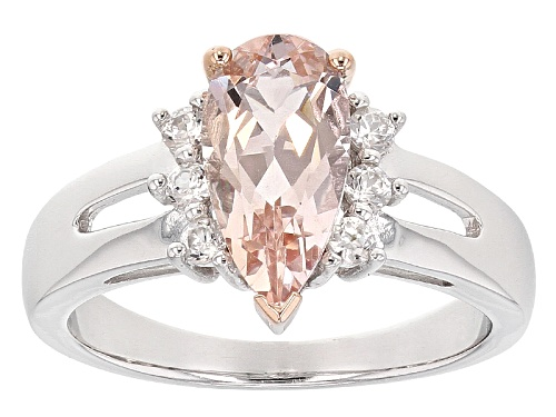 Photo of Pre-Owned 1.40ct Pear Shape Morganite With .27ctw Round White Zircon Sterling Silver Ring - Size 11