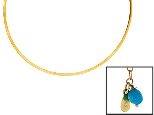 Photo of Pre-Owned Tehya Oyama Turquoise™ Sleeping Beauty Turquoise Bead 18k Gold Over Silver Choker Necklace - Size 18