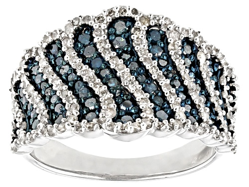Photo of Pre-Owned 1.16ctw Round Blue And White Diamond Rhodium Over Sterling Silver Wide Band Ring - Size 6