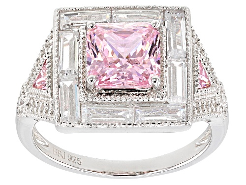 Photo of Pre-Owned Bella Luce®5.20ctw Pink and White Diamond Simulants Rhodium Over Sterling Silver Ring (3.8 - Size 5