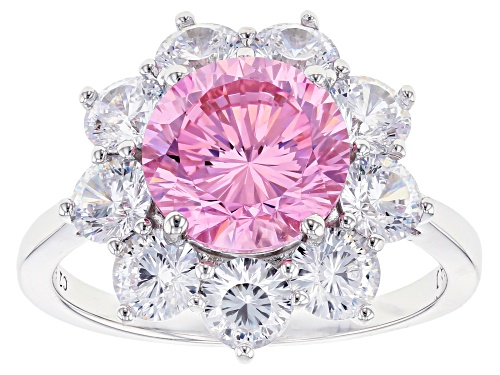 Photo of Pre-Owned Bella Luce ® 8.64ctw Pink and White Diamond Simulants Rhodium Over Sterling Ring (5.00ctw - Size 10