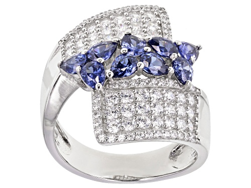 Photo of Pre-Owned Bella Luce ® Esotica™ 3.96ctw Tanzanite and White Diamond Simulants Rhodium Over Silver Ri - Size 10