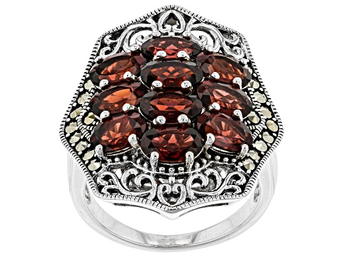 Photo of Pre-Owned 4.76CTW OVAL VERMELHO GARNET(TM) WITH MARCASITE RHODIUM OVER STERLING SILVER RING - Size 8