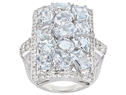 Photo of Pre-Owned 5.90ctw Mixed Shape Aquamarine With 1.15ctw Round White Zircon Rhodium Over Sterling Silve - Size 6