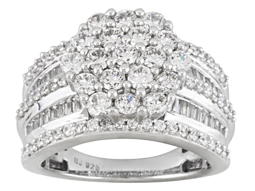 Photo of Pre-Owned Bella Luce ® 4.62ctw Round And Baguette Rhodium Over Sterling Silver Ring - Size 7