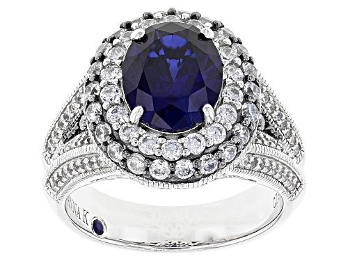 Photo of Pre-Owned Vanna K™For Bella Luce®Lab Created Sapphire/Diamond Simulant Platineve™/Gunmetal Color Rin - Size 10