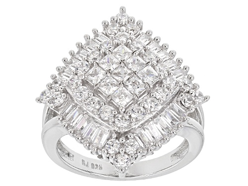 Pre-Owned Bella Luce ® 4.32ctw Princess Cut, Baguette And Round Rhodium Over Sterling Silver Ring - Size 7