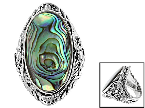 Photo of Pre-Owned Pacific Style™ 14x25mm Oval Abalone Shell Sterling Silver Solitaire Filigree Ring - Size 4