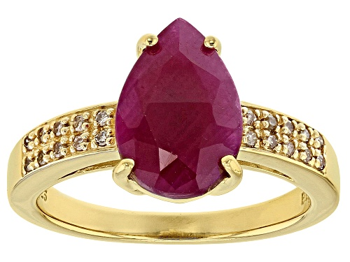 Photo of Pre-Owned 3.40ct Pear Shape India Ruby with .09ctw Champagne Diamond Accent 18k Gold Over Silver Rin - Size 8