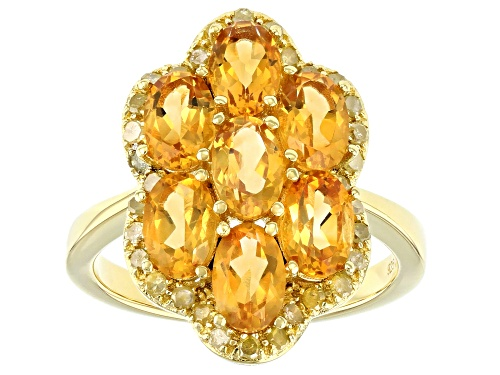Photo of Pre-Owned 2.45ctw Oval Citrine With 0.25ctw Round Yellow Diamond 18k Yellow Gold Over Sterling Silve - Size 9
