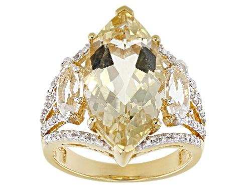 Photo of Pre-Owned 5.52ct Yellow Labradorite, .90ctw Crystal Quartz & .23ctw White Zircon 18k Gold Over Silve - Size 7