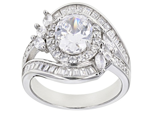 Photo of Pre-Owned Bella Luce ® 4.95ctw Rhodium Over Sterling Silver Ring (3.47ctw DEW) - Size 11