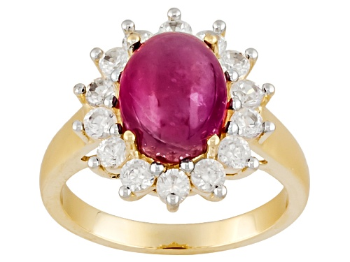 Photo of Pre-Owned 3.25ct Oval Cabochon Mahaleo® Ruby And .98ctw Round White Zircon 10k Yellow Gold Ring - Size 9