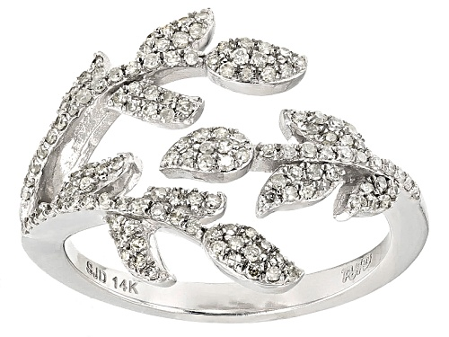 Photo of Pre-Owned Park Avenue Diamonds ™.40ctw Round White Diamond 14k White Gold Leaf Ring - Size 7