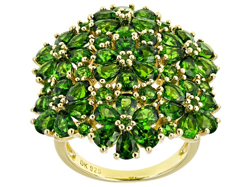 Photo of Pre-Owned 5.71ctw Pear Shape & .73ctw Round Chrome Diopside 18k Yellow Gold Over Silver Flower Ring - Size 7