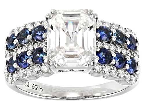 Photo of Pre-Owned MOISSANITE FIRE(R) 2.98CTW DEW AND BLUE SAPPHIRE PLATINEVE(R) RING - Size 7