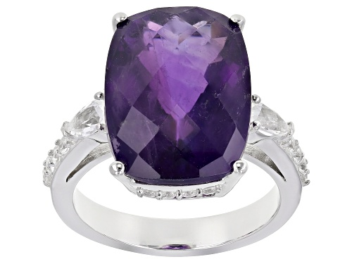 Photo of Pre-Owned 8.00ctw Amethyst And White Topaz Rhodium Over Sterling Silver Ring - Size 7