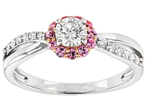 Photo of Pre-Owned MOISSANITE FIRE(R) .45CTW DEW AND .23CTW PINK SAPPHIRE PLATINEVE & 14K ROSE GOLD OVER PLAT - Size 7