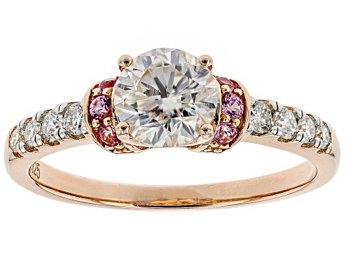 Photo of Pre-Owned MOISSANITE FIRE® 1.00CTW DEW AND .11CTW PINK SAPPHIRE 14K ROSE GOLD OVER SILVER RING - Size 7