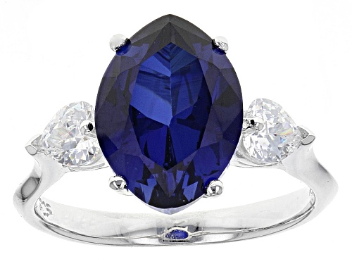 Photo of Pre-Owned Bella Luce ® 5.49ctw Lab Created Sapphire & White Diamond Simulant Rhodium Over Sterling H - Size 5