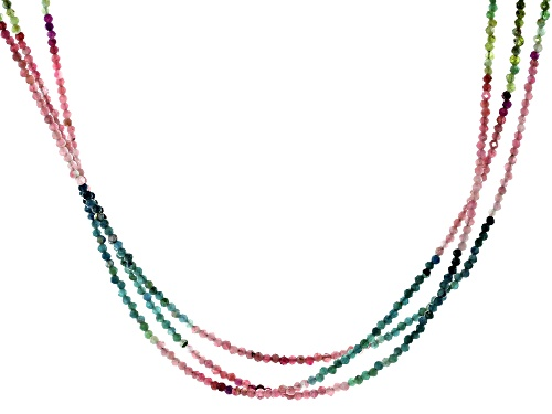 Photo of Pre-Owned 2.2MM Round Multi-Tourmaline Rhodium Over Sterling Silver 3-strand bead Necklace - Size 18