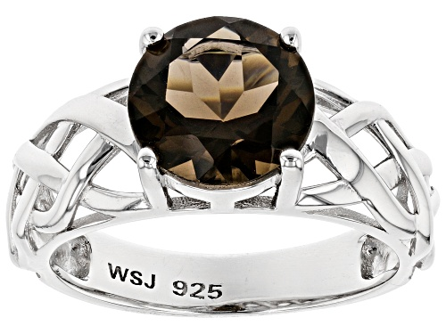 Pre-Owned 2.07CT ROUND SMOKY QUARTZ RHODIUM OVER STERLING SILVER SOLITAIRE RING - Size 7