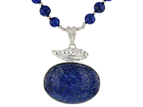 Pre-Owned 8mm Round Strand With 40x30mm Oval Drop Lapis Lazuli Sterling Silver Bead Necklace - Size 20