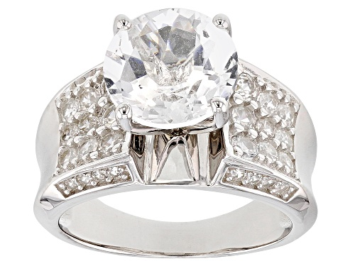 Photo of Pre-Owned 2.93ct Crystal Quartz with 1.12ctw White Zircon Rhodium Over Sterling Silver Ring - Size 9