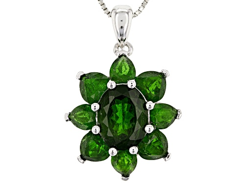Photo of Pre-Owned 5.62CTW OVAL, HEART AND PEAR SHAPE RUSSIAN CHROME DIOPSIDE RHODIUM OVER SILVER PENDANT W/C