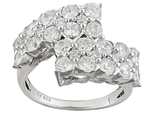 Photo of Pre-Owned Bella Luce ® 4.36ctw Diamond Simulant Round Rhodium Over Sterling Silver Ring (2.44ctw Dew - Size 6