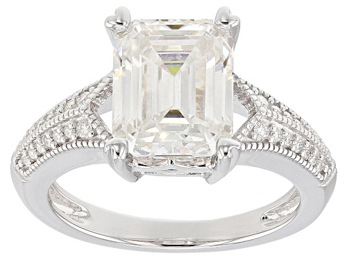Photo of Pre-Owned MOISSANITE FIRE® 3.83CTW DEW EMERALD CUT AND ROUND PLATINEVE® RING - Size 7