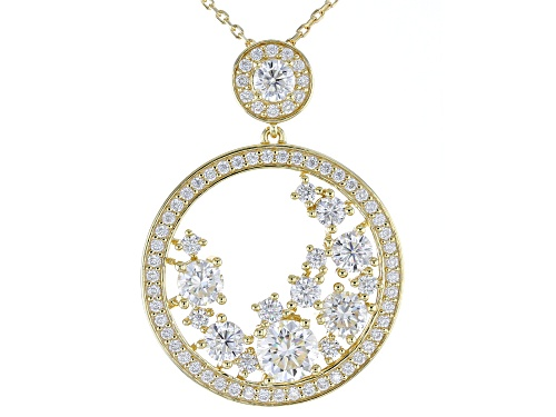 Photo of Pre-Owned MOISSANITE FIRE® 3.24CTW DEW ROUND 14K YELLOW GOLD OVER SILVER PENDANT AND CHAIN